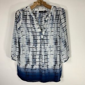 Willi Smith Patterned Blouse 3/4 Sleeve Sz Small